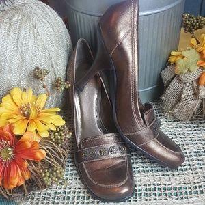 BCBGIRLS Copper Jewel Accented Heels 8.5